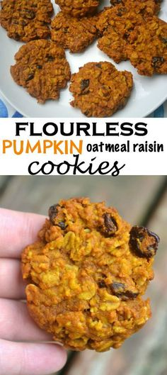 Flourless Pumpkin Oatmeal Raisin Cookies - reduce sugar by half and replace with half applesauce. reduce oil by half. replace eggs with egg substitute. substitue cranberries for raisins.