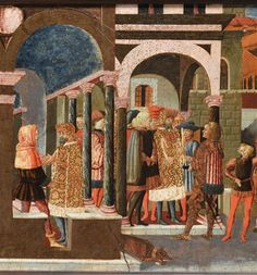 di Ser Giovanni Giovanni (atelier de) | Panneau de cassone : l'Histoire d'Enée | ENEE ET ANTHENOR; E.CL.7506.