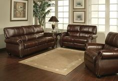 Abbyson Living Ashley Premium Top-grain Leather Sofa, Loveseat, And Armchair Set Leather Sofa And Loveseat, Sofa And Loveseat Set, Leather Sofa Set, Couch, New Living Room, Living Room Sets, Living Room Chairs, Living Room Furniture, Online Furniture Stores