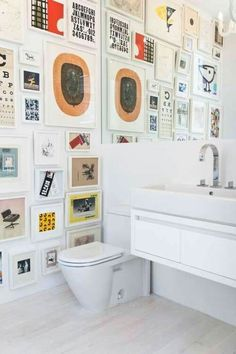 Gallery wall in guest bathroom
