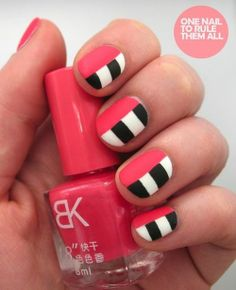 One easy way to give your nails a significant burst of style and design is to add a few simple stripes to the nail. This easy nail art idea is especially simple as you don't have to worry about curving your brush or creating any crazy swivels or designs. As one of the most basic nail art designs, it's great for beginners to for those who don't have time on their hands. Get creative by mix and matching colors and leaving the stripes side-by-side, criss-crossing, or going every which way