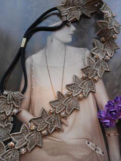 Crystal Set ivy Leaf lace Charleston Flapper by MySugarSpunSister