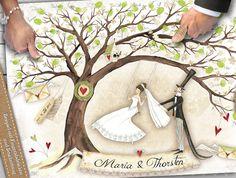 ♥ Dieser wunderschöne **Wedding Tree** ist durch seine liebevollen Details, wie die **kleine Vogelhochzeit**, keineswegs langweilig.♥ Schon ohne Fingerabdrücke wirkt er durch die vielen Blüten...