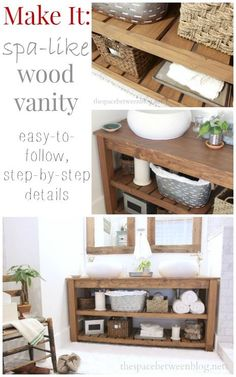 a detailed tutorial for making your own wood slat vanity, would also make a great console table