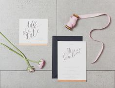 Barcelona Cream & Pink Wedding - black, creme, and gold wedding stationary