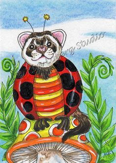pet Ferret Lady Bug ACEO EBSQ Kim Loberg Fantasy insect Mini Art mushroom Ferns #IllustrationArt