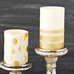 How to make gold glitter and polka dot candles - easy DIY home decor project that you can make in under 5 minutes!