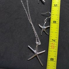 925 sterling silver woman Charms starfish Earring Necklace set jewelry in long Necklace chain Thickness - SLV for Sale in Queens, NY - OfferUp Necklace Set, Arrow Necklace, Starfish Earrings, Star Earrings, Queens, Jewelry Accessories, Charms, Gems, Woman