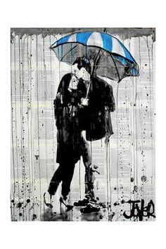 Umbrella Blue Canvas Wall Art