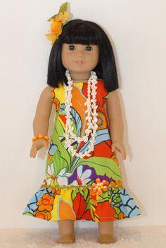 American Girl Doll Clothes 18 inch Doll Clothing Orange Yellow Flower Hawaiian Halter Sundress Shell Necklace Bracelet Hair Clip