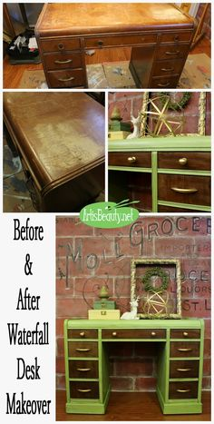 ART IS BEAUTY: THINK SPRING! Green Vintage Waterfall Desk Painted Makeover www.artisbeauty.net