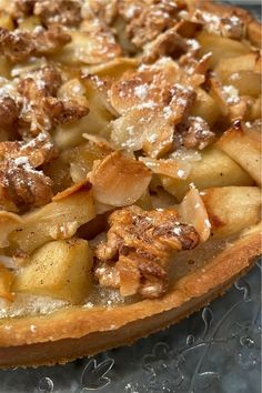 French apple, almond & walnut tart  #almondtart #appletart #appledesserts #frenchdesserts #nougat