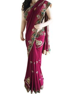 Brand New Wine Colored Pure Georgette Saree With Zardozi Work