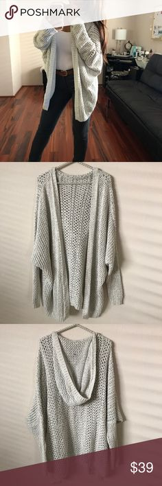 BRANDY💗MELVILLE Moselle Cardigan Off white open front hooded cardigan. Relaxed, boxy fit. Excellent condition, no snags. Brandy Melville Sweaters Cardigans
