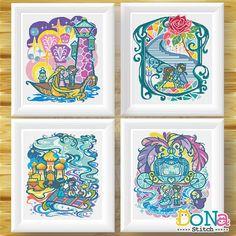 Beauty and the Beast- Fairy Tale Series - Cross Stitch Patterns Rapunzel - Fairy Tale Series - Cross Stitch Patterns Aladdin- Fairy Tale Series -