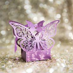 cheap romantic purple laser cut butterfly wedding favor box EWFB131