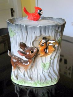 Bambi and Chipmunk Cookie Jar 1950's