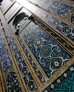 Hena Tayeb Photograph Aqua Blue Islamic Pattern - 8x10 Etsy Arabic Calligraphy taken in Iran