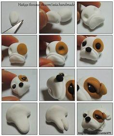step by step polymer clay ideas dogs Cute Polymer Clay, Polymer Clay Animals, Cute Clay, Fimo Clay, Polymer Clay Charms, Polymer Clay Projects, Ceramic Clay, Clay Crafts, Fondant Dog