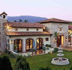 Spanish style homes – Mediterranean Home Decor Spanish Style Homes, Spanish House, Build Your House, Building A House, Hacienda Homes, Dream House Exterior, Mediterranean Homes, House Goals, Modern House Design