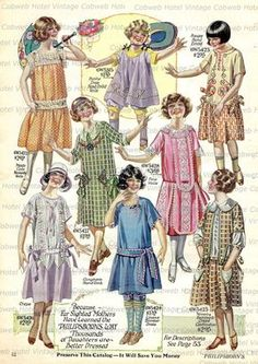Children Girls Fashions Catalog Page Spring Dresses Frocks Philipsborn of Chicago Department Store 20s Fashion, Fashion History, Retro Fashion, Girl Fashion, Vintage Fashion, Cheap Fashion, Fashion Women, Moda Vintage, Vintage Mode