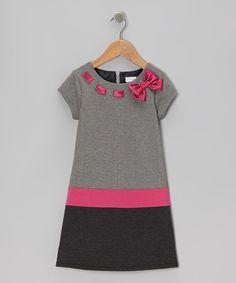 Black & Pink Bow Dress - Toddler