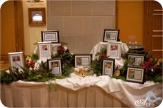 Meet the Bridesmaids & Groomsmen tables. Each framed photograph held a description of how they knew the bride and groom along with what made each wedding party member special.