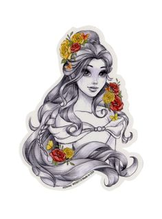 Disney Beauty And The Beast Belle Sketch Sticker   Hot Topic