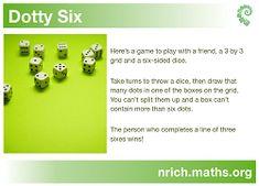Dotty Six dice game maths Math Strategies, Math Resources, Math Activities, Math Skills, Math Lessons, Teaching Math, Maths, Math Fact Fluency, Math Projects