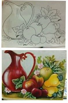 Stencil Painting, Painting Patterns, Fabric Painting, Watercolor Paintings, Painting Glass Jars, Fruit Painting, Flower Line Drawings, Jar Art, Indian Folk Art
