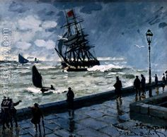 The Jetty Of Le Havre In Rough Westher by Claude Oscar Monet