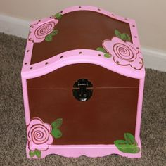 Wood Chest, Baby Box, Keepsake Boxes, Storage Chest, Hand Painted, Toys, Unique Jewelry, Handmade Gifts, Flowers