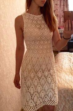 Красивое платье крючком схема. Летнее платье крючком краивым узором  