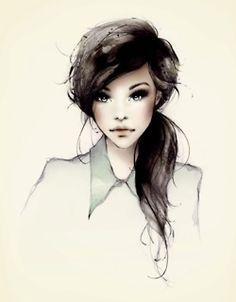 girl with straight hair drawing - Google Search