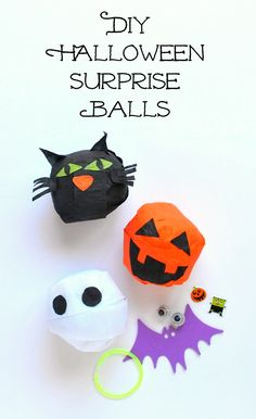 DIY Halloween surprise balls - I've totally avoided surprise balls in the past, but if there ever was a time to do them it would be Halloween. I've got plenty of left over halloween kitsch from years past that I could tuck in them along with some little candies.