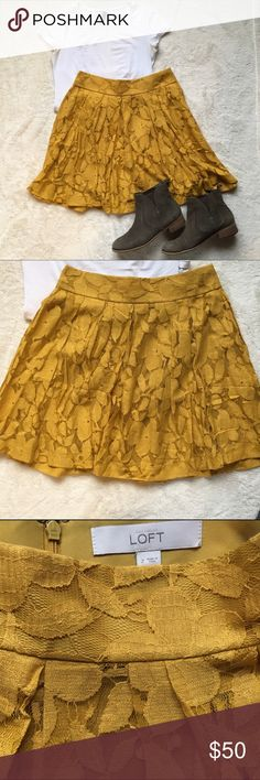 """LOFT floral lace skirt Mustard yellow floral lace pleated skirt. Measures 14"""" waist and 18"""" length when flat. Zips in the back. Machine washable! Made of cotton and nylon. New, perfect condition. LOFT Skirts Circle & Skater"""
