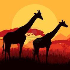 Silhouettes famille girafe en Afrique montagne nature sauvage vecteur illustration paysage de fond Banque d'images - 15272096