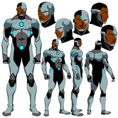 the beat down Cyborg received at the hands of Doomsday in Death of Superman and I thought he could use an upgrade. Cyborg Dc Comics, Rogue Comics, Arte Dc Comics, Superhero Characters, Dc Comics Characters, Character Model Sheet, Comic Character, Dc Animated Series, Comic Books Art