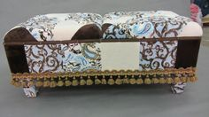 Bench Upholstered in Minky Patchwork with by JohnsonandEaton