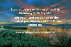 """""""I am at peace with myself and in harmony with my life..."""" - Angel Wisdom: Angel Wisdom with Sharon Taphorn ~ Peace"""