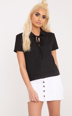 Jules Black Jersey Rib Polo Top