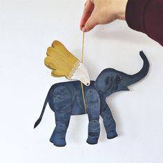 Items similar to Winged Elephant / Articulated Decoration / Hinged Beasts Series on Etsy Paper Dolls, Art Dolls, Paper Art, Paper Crafts, Paper Puppets, Paper Animals, Art Plastique, Diy For Kids, Art Projects