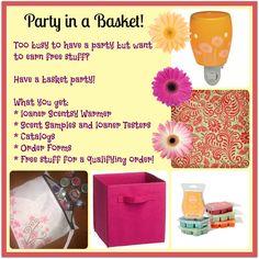 Schedule your basket party today. Like me on Facebook https://www.facebook.com/scentsbyangela