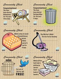 If your child leaves their things lying around, you get to put them in Clutter Jail! To get their item out, your child must draw one of the Clutter Jail Community Chest cards and complete the task