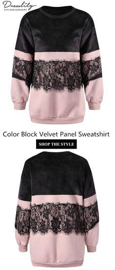 e3f4885cfd9 Free shipping over $39. Color Block Velvet Panel Sweatshirt. #dresslily # sweatshirt