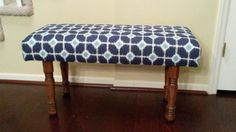 Upholstered Bench - Blue and White -- $140. Can make custom orders.