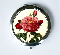 Pink Roses Compact Mirror Pocket Mirror flowers love by che655, $12.00