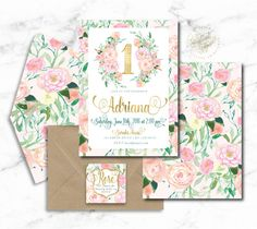 Welcome to Freshmint Paperie!  This beautiful soft floral invitation is so gorgeous with crisp gold calligraphy text & gorgeous floral watercolor details. *All our invitations can be customized for ANY event! Just leave us the text you want at checkout.  Our Printable Digital Files are delivered in high resolution JPG format. ..........................................................................................  WHAT YOU GET: – Custom 5x7 Invitation Design personalized with your party...