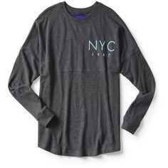 Aeropostale NYC 1987 Crew Sweatshirt ($14) ❤ liked on Polyvore featuring tops, hoodies, sweatshirts, charcoal heather grey, oversized crew neck sweatshirt, aeropostale sweatshirt, graphic crewneck sweatshirt, oversized tops and crewneck sweatshirts