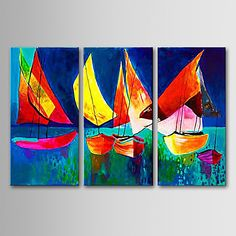 Hand-painted Landscape Oil Painting with Stretched Frame - Set of 3 – AUD $ 130.65
